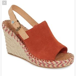 TOMS Monica Slingback Suede Wedge Espadrille- 10